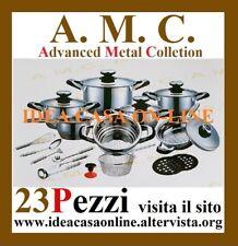 AMC BATTERIA DI PENTOLE ADVANCED METAL COLLECTION 23 PEZZI ACCIAIO INOX 18/10