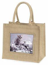 Silver Kitten 'Love You Mum' Large Natural Jute Shopping Bag Christ, AC-70lymBLN