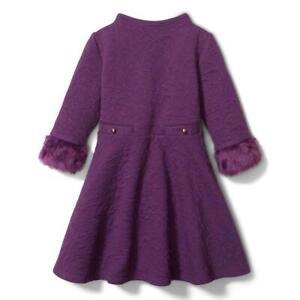 NWT JANIE and JACK Jacquard Faux Fur Cuff Dress - 18 to 24 Month  Grape Lollipop