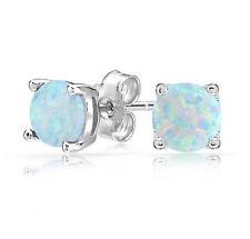 White Fire Opal 6MM Women Jewelry Silver Stud Earrings OE3