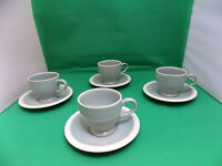 Denby Style Green Mint Cups & Saucers x 4