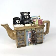 Ceramic Teapot Office Desk old Vintage Typewriter Telephone Rubbis Paperwork Law