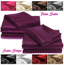 Plain & Stripe Silky Sexy Satin Fitted Bed Sheets - Single Double King Superking