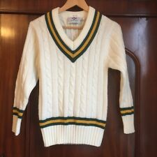 Crusader Cricket Sweater Jumper Long Sleeve Cable Knit Youth 30/32 Inches