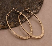 Oval Hoop Earrings 14K Yellow Gold Filled Flattened with Pebble Texture 43mm iDu