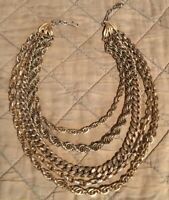 Vintage Signed ART Multi Strand Heavy Gold Toned (material ?) Necklace GORGEOUS