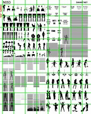 N053 DAVE'S DECALS N SCALE WINDOW SILHOUETTES PEOPLE, CURTAINS, BLINDS FURNITURE