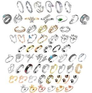 Adjustable Ring - Womens Ladies Girls, Resizable Open Band Diamante Toe Finger
