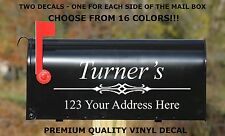 CUSTOM PERSONALIZED VINYL MAILBOX DECAL #1 - SET OF 2 - 16 COLOR CHOICES  5X14