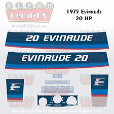 1975 Evinrude 20 HP Two Stroke Outboard Reproduction 8 Pc Marine Vinyl Decals