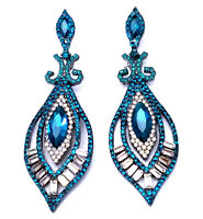 Chandelier Earrings Rhinestone Crystal 3 inch Aqua