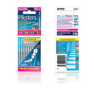 ツ Piksters Interdental Brushes - 10 Pack - Size 0 - Grey - Brand New