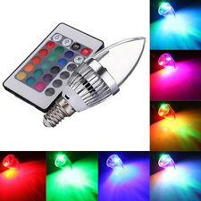 E14 3W RGB LED 16 Colors Changing Candle Light Lamp Bulb + Remote Control .Kits#