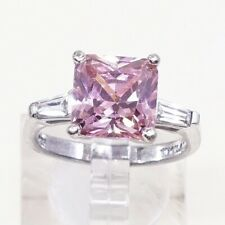 Silver Engagement Ring W/ Pink Crystal Sz 6.75, Vintage Sterling Ring, 925