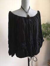 Denim supply  Black ruffled peasant top/blouse size s