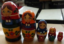 """old russian design Zagorsk Russian Nesting Doll 5 Pcs 4.5"""" #4"""
