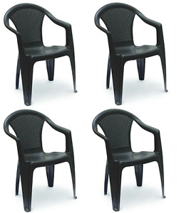 Patio Chairs 4 Rattan Garden Chairs Stackable Plastic Outdoor With Arms Black