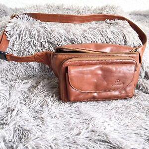 Lexus Crossbody Fanny Pack  Brown Leather  Waist Bag Pockets Zipper Logo
