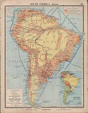 1939 mappa ~ Sud America rotte di trasporto carbone FERRO mining porti impianti petroliferi
