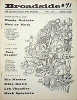 """Vtg """"The Broadside"""" Magazine Folk Music June 1966 Pete Seeger Woody Guthrie m365"""