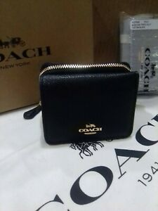 COACH NWT F37968 Trifold Wallet Coin Zip BLK Pebble Leather $150 retail free SHP