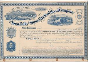 Stk Iowa Falls & Sioux City RR Cedar Rapids, IA Blue Not issued GREAT vignette