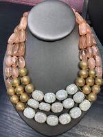 "Vtg Bib Statement Necklace Peach Gold Cream Lucite  Beaded Cluster Charm 14-16"""