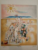 "Rare Nachum Gutman ""Herzliya Gymnasium"" Signed and numbered Lithograph 35X33 cm"