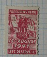 Freedoms Here Lets Deserve It !947 Patriotic Poster Stamp