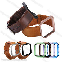 Retro Leather Watch Band Wrist Strap Bracelet Metal Frame For Fitbit Blaze