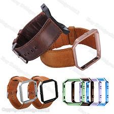 For Fitbit Blaze Retro Leather Watch Band Wrist Strap Bracelet Metal Frame