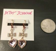 Betsey Johnson Rose Gold Tone Pink Crystals Heart Bow Earrings B00976-e08