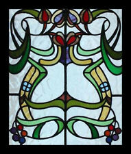 Stunning Antique English Art Nouveau Floral Stained Glass Window