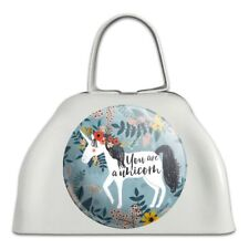 You are a Unicorn Unique Flowers White Metal Cowbell Cow Bell Instrument
