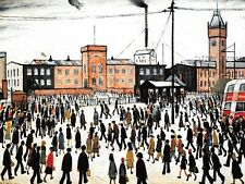 L.S Lowry - Going to Work 1943 Vintage Repro Art Print 8 x 6 Pro Archival Matt