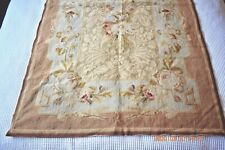 Lovely vintage hand-stitched wool needlepoint tapestry rug abusson roses floral