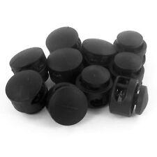 10 Stueck 4 mm Dia Doppelloch Kabelverschluss Kordelstopper Enden, Schwarz D1A7