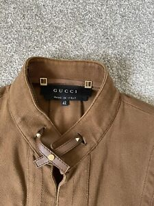 Gucci Brown Cotton Jacket With Leather Trim Size 42