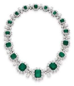 """925 Sterling Silver Green Emerald Halo Statement Necklace Victorian Style 18"""""""