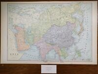 "ASIA 1900 Vintage Atlas Map 22""x14"" ~ Old Antique Original AFGHANISTAN TURKEY"