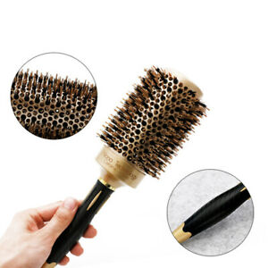 1X Round Boar Bristle Curling Styling Hair Comb Wooden Handle Hairdressing Brush