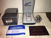 Citizen Men's ANO754 51L TwinChron WR Bracelet Watch With Instructions & Boxes!