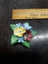 Vintage hand made English bone china flower brooch pin 2 inches