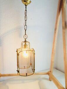 """✨24"""" Vintage Brass Spanish Lantern Light, 4 Etched Glass Panels LEAF Motif"""