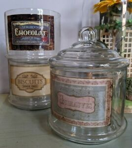New Vintage French Shabby Chic Clear Glass STACKABLE 3 Cookie Biscuit Sweet Jars
