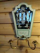 Maitland Smith Mirror Candle Holder Etched Beveled Glass