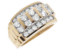 Mens 10K Yellow Gold Real Diamond Engagement Channel Wedding Band Ring 2 CT 14MM