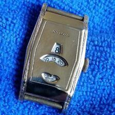 BULOVA Jump Hour Direct Read Art Deco Wrist Watch 15J Swiss 14K GF - Running