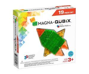 NEW MAGNA-QUBIX Magnetic 3D Building Toy Shapes MagnaTiles 19pc Set Gross Motor