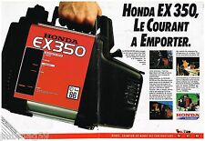 Publicité Advertising 1989 (2 pages) Le Groupe Honda EX 350